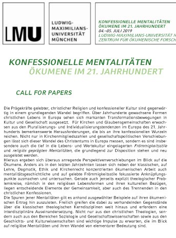 Call for Papers Ökumene München