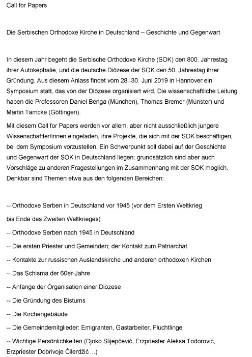 Call for Papers SOK in Deutschland
