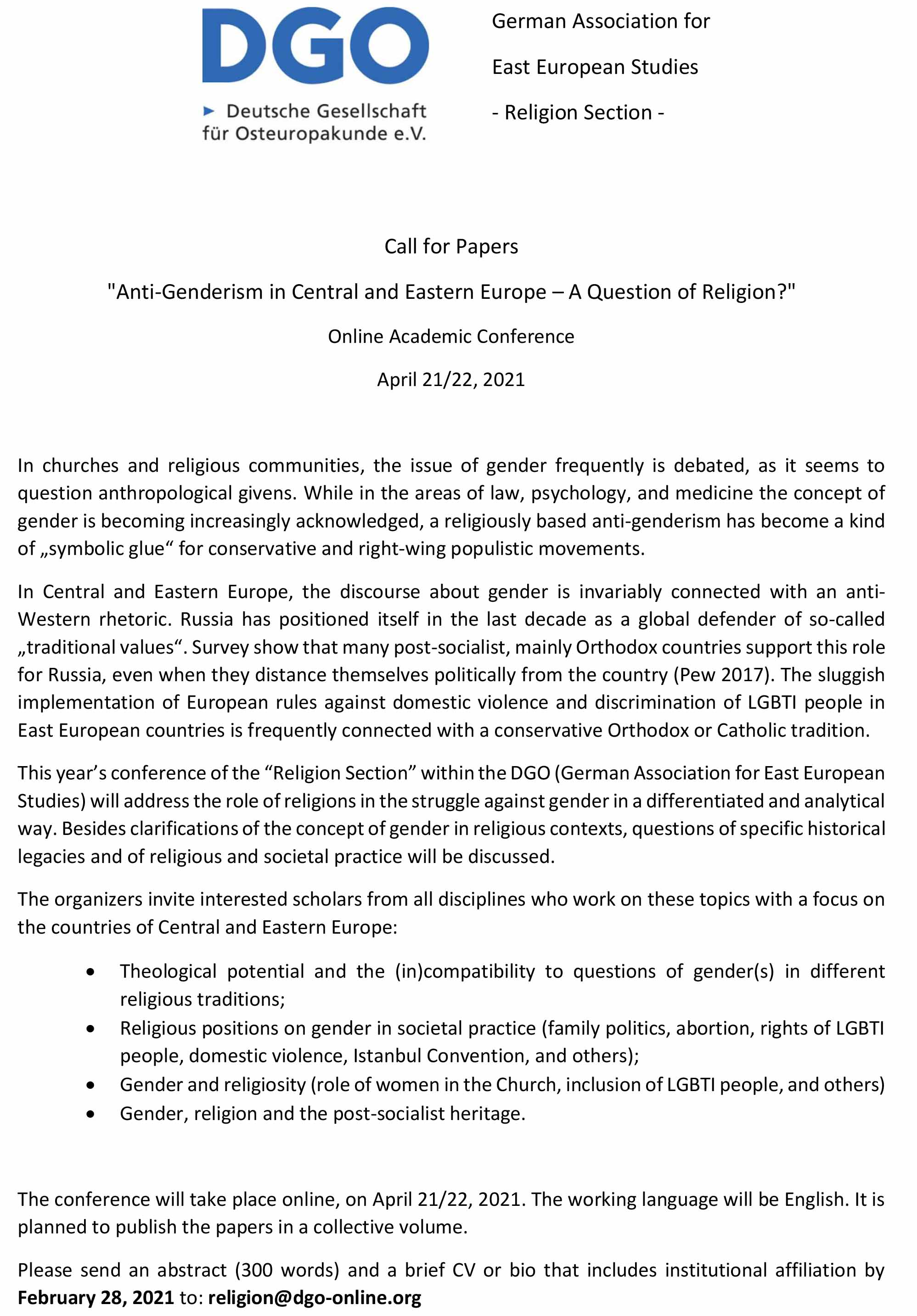 CfP Ant Genderism in Central and Eastern Europe